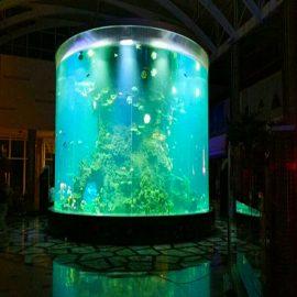 الصين مخصصة رخيصة سوبر كبير جولة أحواض زجاجية pmma واضحة اسطوانة خزانات الأسماك الاكريليك