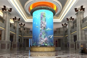 اسطوانة كبيرة الاكريليك خزان الأسماك